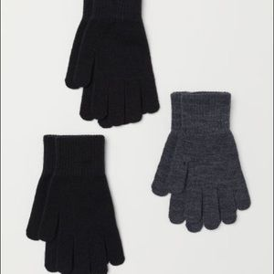 NWT 3-Pack Knit Gloves Black and Dark Gray - 8-14Y